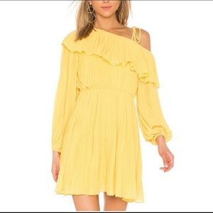 Yellow Endless Rose Pleated One Shoulder Dress